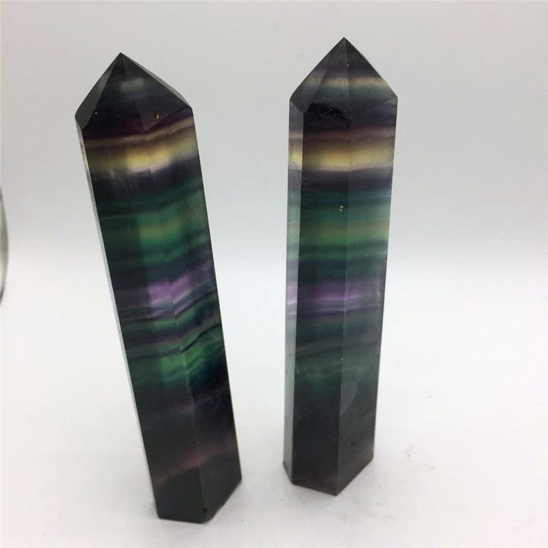 big size Natural rainbow fluorite Crystal gemstone point meditation reiki healing chakra colorful fluorite crystal wand as gift in Stones from Home Garden