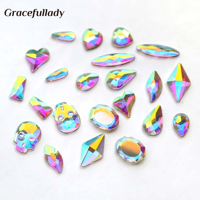20 stk / pakke Nail Art Rhinestones Personlig Flat Shapes Glass AB Colorful Stones For 3D Nails Art Decoration