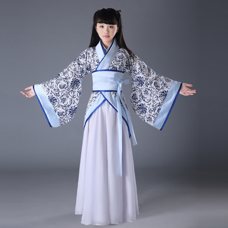 ФОТО kid Halloween dress Tang Dynasty set Children's costume Chinese garment girls fairy zither performances clothing