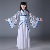 kid Halloween dress Tang Dynasty set Children's costume Chinese garment girls fairy zither performances clothing