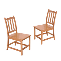2pcs Sturdy Bamboo Dining Chairs Dropshipping
