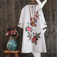 Ethnic Embroidery Dress Women Loose Short sleeve V Neck Summer Dresses Ladies V neck Plus size Clothes