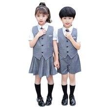 Get more info on the Boy Girls Japanese School Uniform Design Teenagers Vest Shirt Shorts Pleated Skirt Children School Uniform Blazers Clothing Suit