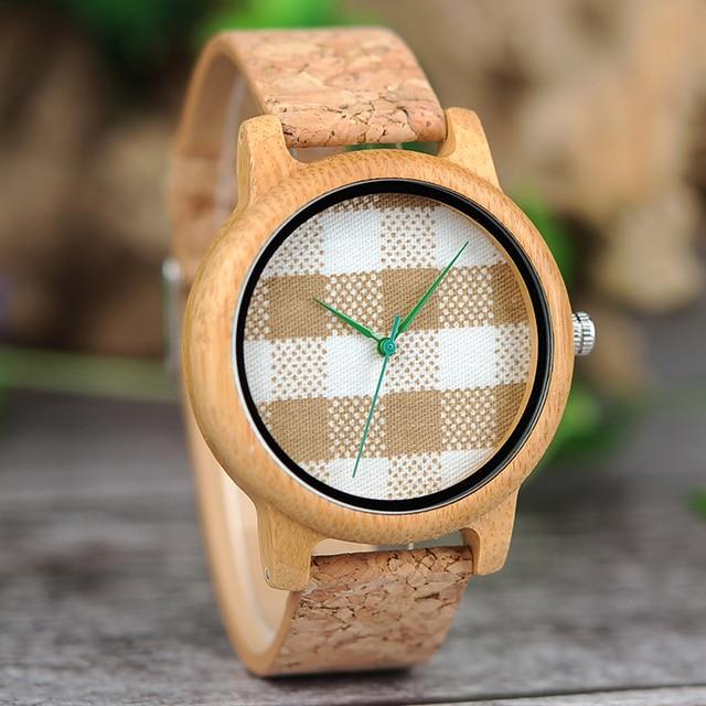 Reloj de madera unisex dial textil rayas cuadros 1