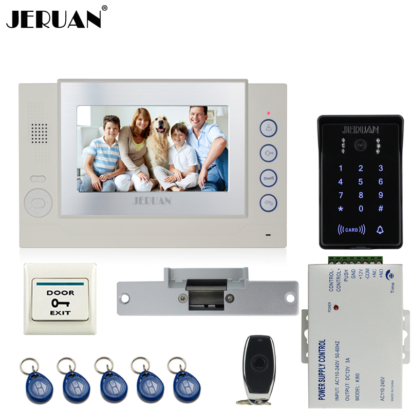 JERUAN Wired 7 inch video door phone Record intercom system Kit New RFID waterproof Touch Key password keypad Camera 8G SD Card jeruan 7 lcd video door phone record intercom system 3 monitor new rfid waterproof touch key password keypad camera 8g sd card