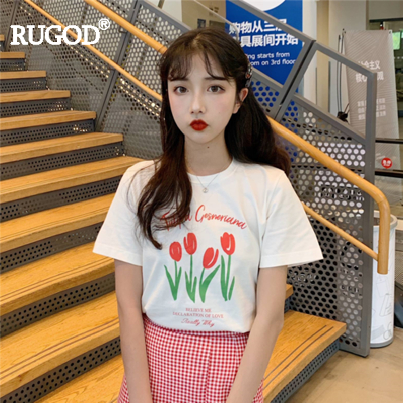 RUGOD Women T-shirt Cute Girl Flower Tulip Pattern Letters Casual Fashion Female Tee