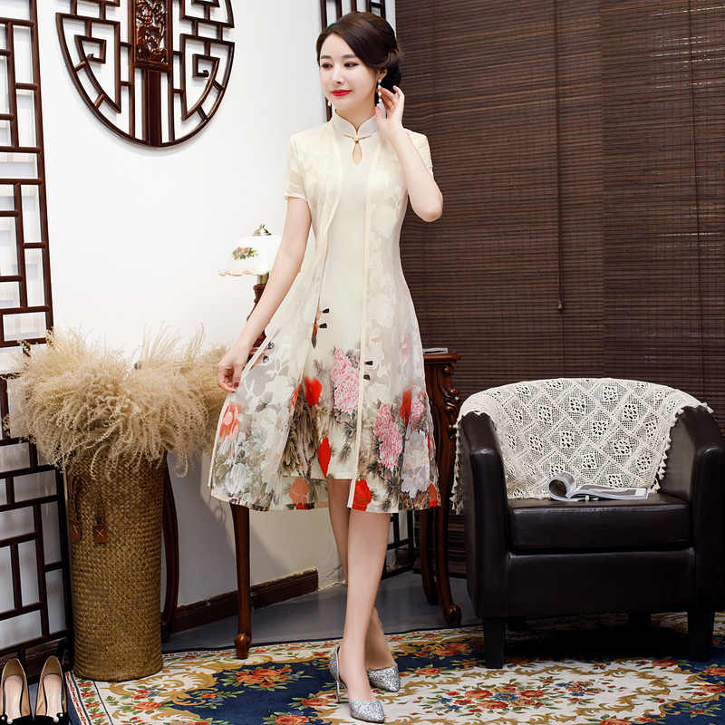Beige Vintage 2pc Chinese Style Aodai Qipao Short Printing Rayon Cheongsam Dress Women's Chinese Traditional Dress Size M - 4XL