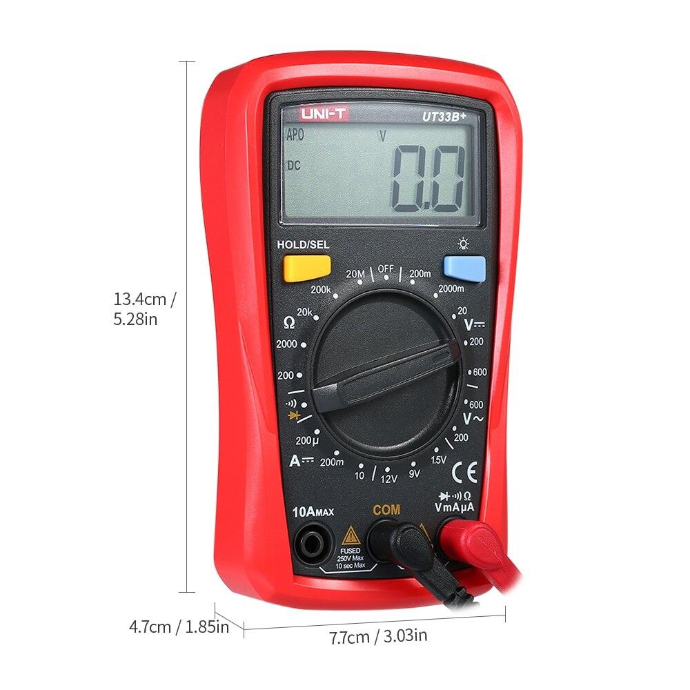 Digital Multimeter Handheld LCD DC AC Voltage DC Current Meter Resistance Tester Voltmeter Ammeter UT33B in Multimeters from Tools