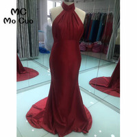 2018 New Burgundy Halter Bridesmaid Dress Long Maid of Honor Off Shoulder Wedding Party Dresses Satin Backless Formal Dresses