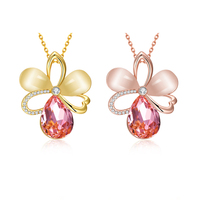 2016 New 18K Rose Gold Plated Pink Yellow Opal Crystal Flowers Pendants And Necklaces For Women