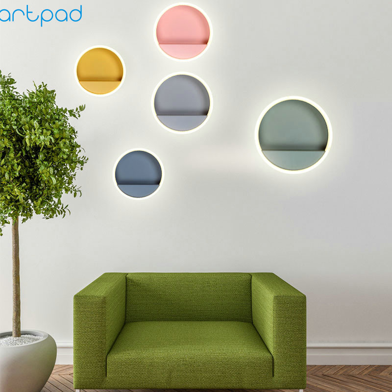 Nordic Modern Macaron LED Wall Light Colorful Round Sconce Acrylic Lamp On the Wall for Bedroom Living Room Bathroom Fixtures modern acrylic led wall lights bedroom bedside wall lamp lampara de pared bed room decoration lighting wall sconces