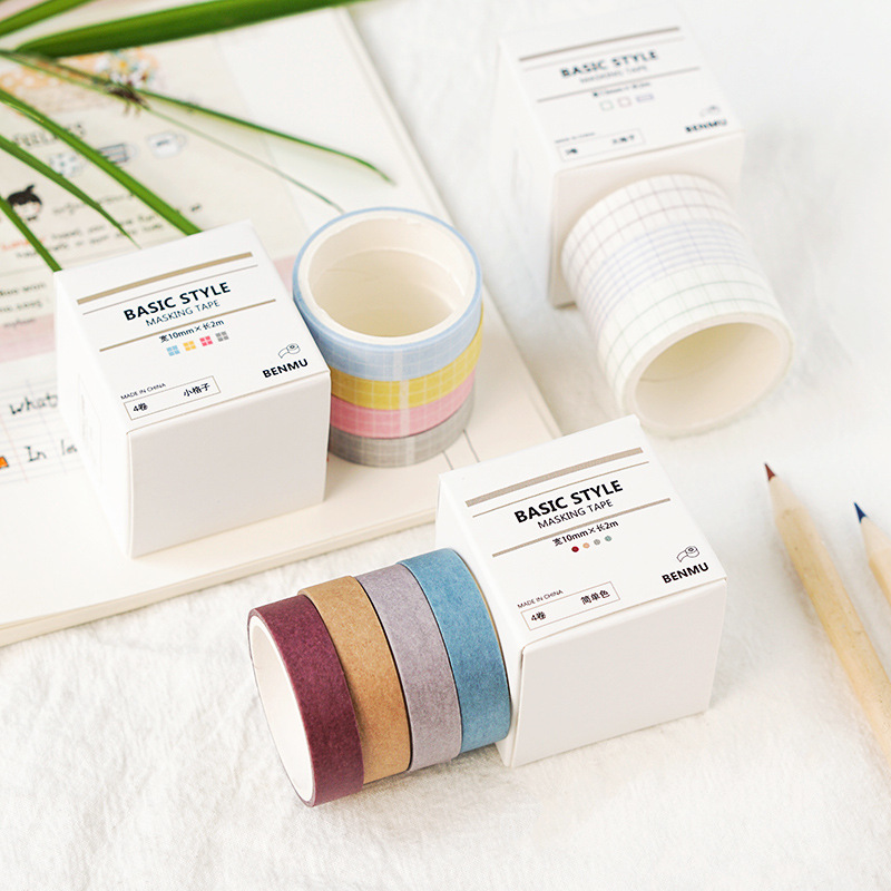 Creative Grid Pure Color Washi Tape Set DIY Scrapbooking Sticker Label Masking Tape School Office Supply
