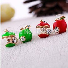 Hot Selling New Style Lovely Apple 2 colors Cute green red Stud font b Earring b