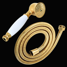 Gold Color Brass Telephone Style Bathroom Shower Head Water Saving Hand Held Shower Head Spray &1.5m Hose Kxz055 цена в Москве и Питере