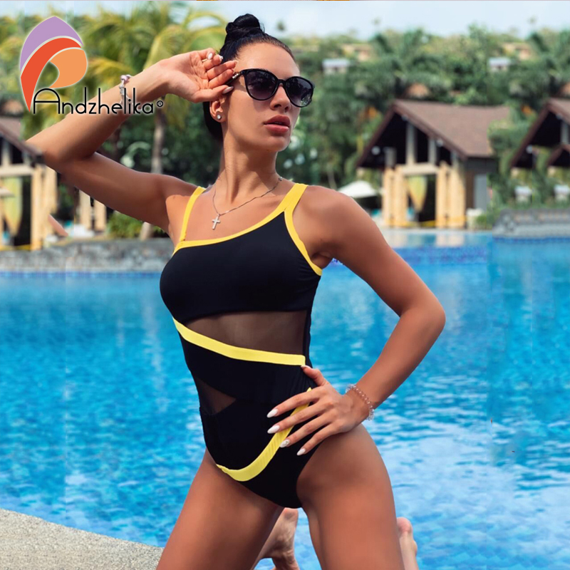Andzhelika Sexy One Shoulder One Piece Swimsuit 2019 New Off Shoulder Mesh Patchwork Swimwear Bodysuit Bathing Suit Monokini(China)