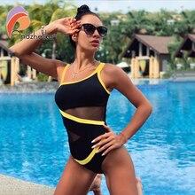 Andzhelika seksi bir omuz tek parça mayo 2020 yeni kapalı omuz örgü Patchwork mayo Bodysuit mayo Monokini