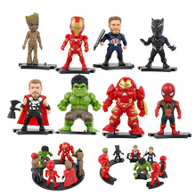 8pcs/lot Avengers Infinity War Iron Spider Figure Spiderman Black Panther Iron Man Action Figure Toy avengers infinity war statue superhero iron man black panther bust thanos enemy half length photo or portrait action figure toy