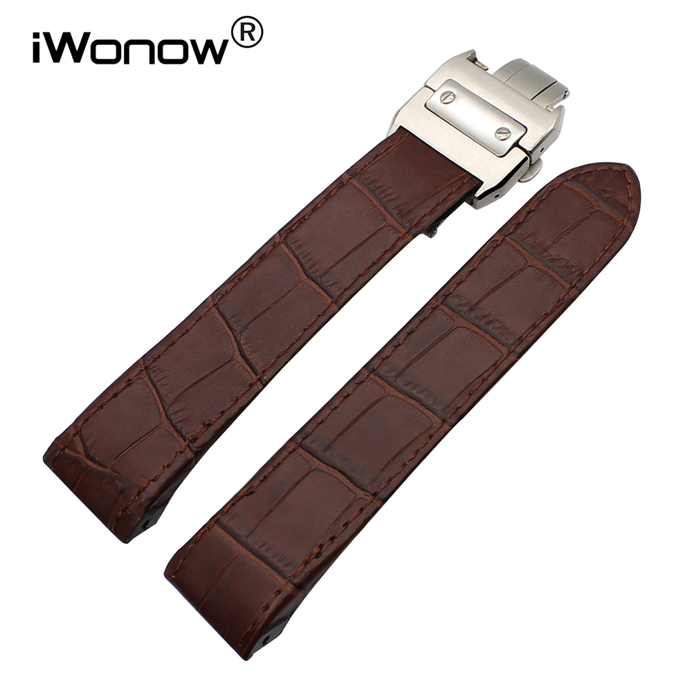 20mm 23mm Croco Genuine Leather Watchband for Santos 100 Men Women Chronograph Watch Band Butterfly Buckle Bracelet Wrist Strap croco genuine leather watchband 22mm tool for speedmaster globemaster replacement watch band butterfly buckle wrist strap black