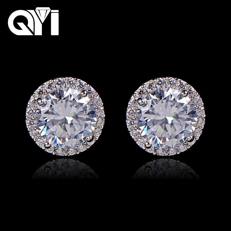 QYI 925 Sterling Silver 4 Prongs Round Cut 1 ct Sona Stud Earring Women Engagement Wedding Halo Earring For Women