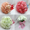 New Style 2015 Wedding Bouquet Bridal Accessories Ribbon Silk Hydrangea Rose Flowers  Bride Decoration