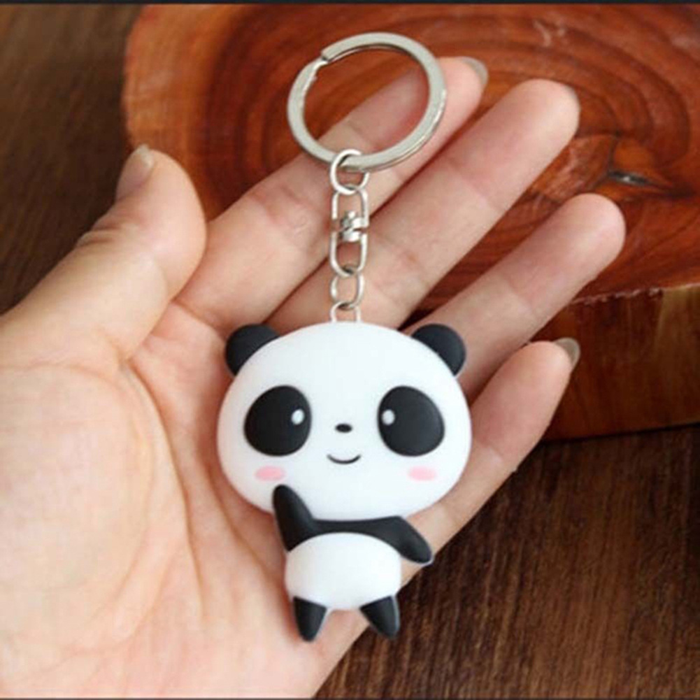 1 Pc Trendy Keys Chains Silicone Cute Panda Cartoon Keychain Bag Pendant Key Ring Kawaii Gift Present For Women Wholesale