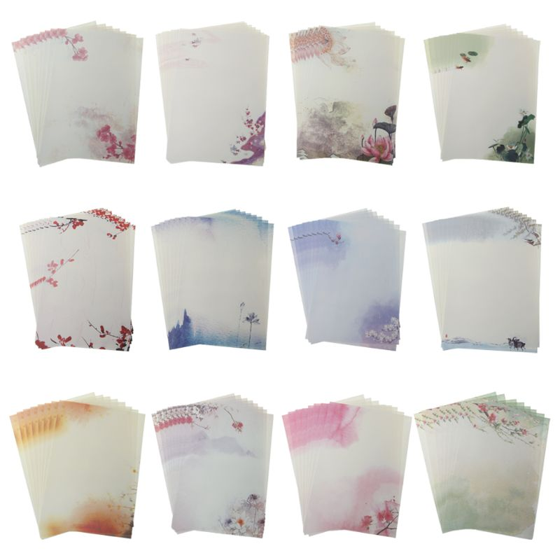 16Pcs/pack Beautiful Chinese Style Letter Paper Ink Painting Writing Students Stationery Office Tools