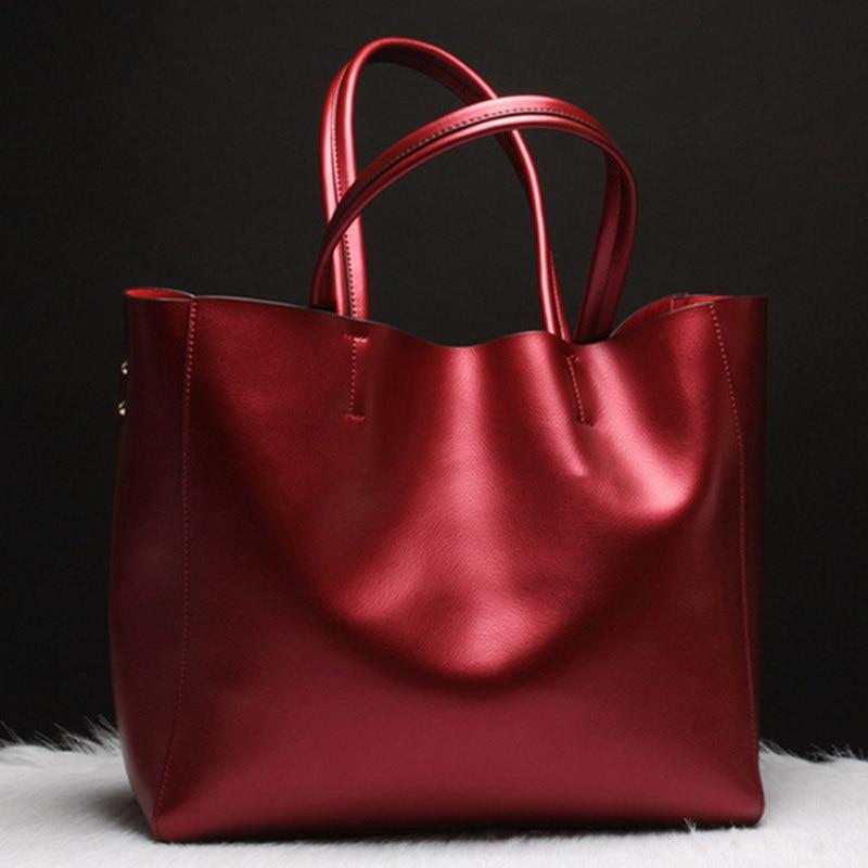 Luxury Women Handbag Genuine Leather Shoulder Bag Female Bags Cowhide Portable Shopping Bag Vintage Large Capacity Tote Bolsos jmd 100% guarantee genuine vintage leather women s tote shoulder bag for shopping 7271c