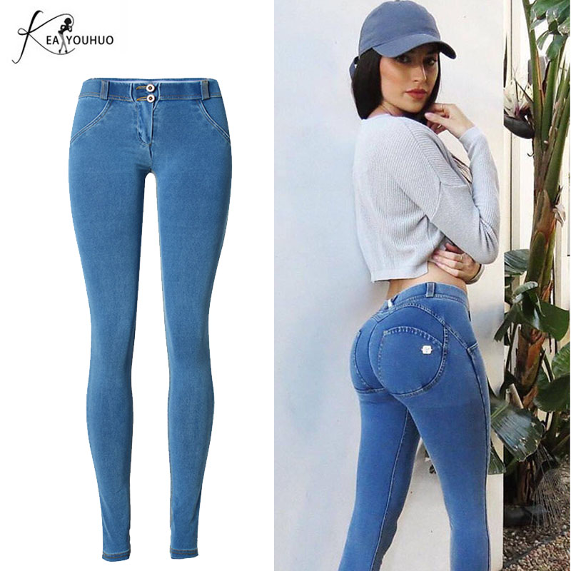 New High waist Jeans Woman Skinny Push Up Jeans Slim Light Blue Denim Pencil Pants Stretch Women Big Hip Jeans Pants For Female free shipping wild cat limited edition vintage pin up skinny pencil pants high waist hip up cotton denim pants women slim jeans