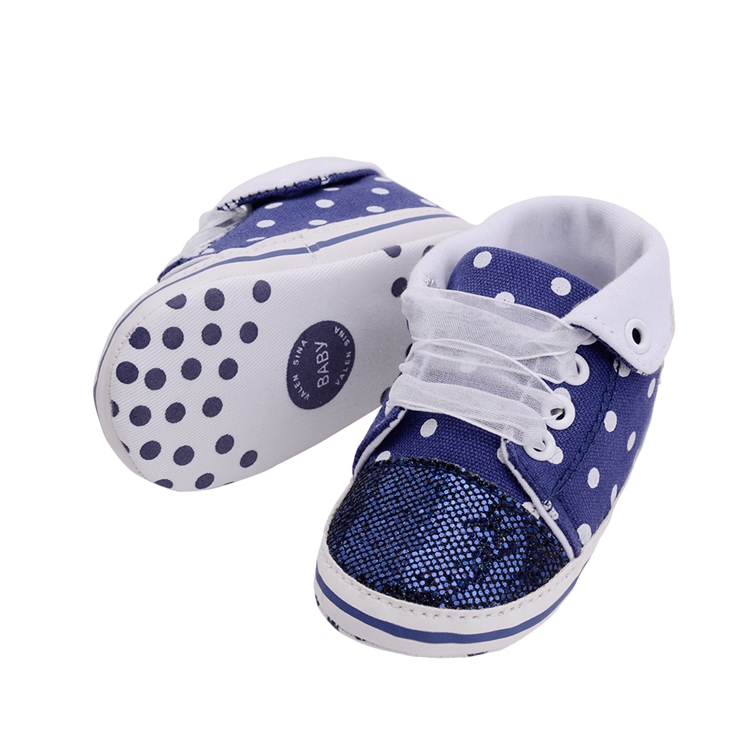 Infant Newborn Baby Girls Boy Glitter Polka Dots Autumn Lace-Up First Walkers Sneakers Shoes Adorable RibbonToddler Canvas Shoes 24