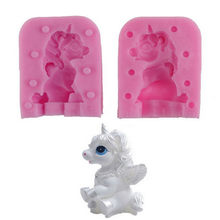 3D Unicorn Bentuk Silicone Mould Chocolate Fondant Sabun Permen Kue Cetakan Dapur Baking Cake Decorating Alat 1 Set(China)