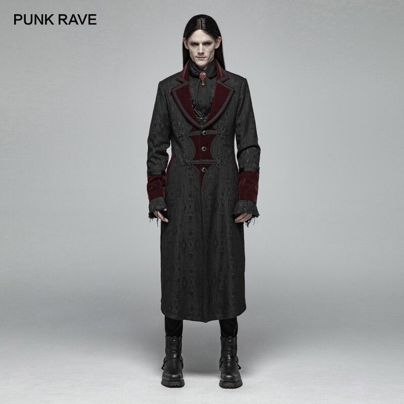 PUNK RAVE Gothic Men's Vampire Master Mid-length Jacquard Jackets Stage Performance Cosplay Men Long Coat Costume Harujuku