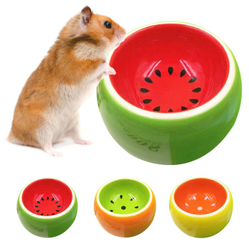Cute Fruit Pattern Hamster Ceramic Food Water Snack Feeder for Pets Squirrel Guinea Pig Chinchilla Ferret Rabbit Bowl 1