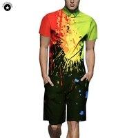 Summer Short Sleeve Men Rompers Paint Splash 3D Jumpsuit One Piece Short Pants Playsuits Buttons Pockets Rompers