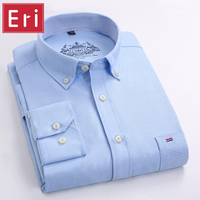 Free Shipping Men Shirt Long Sleeve Brand Business Casual Oxford Slim Fit Shirts Mens Solid Collar