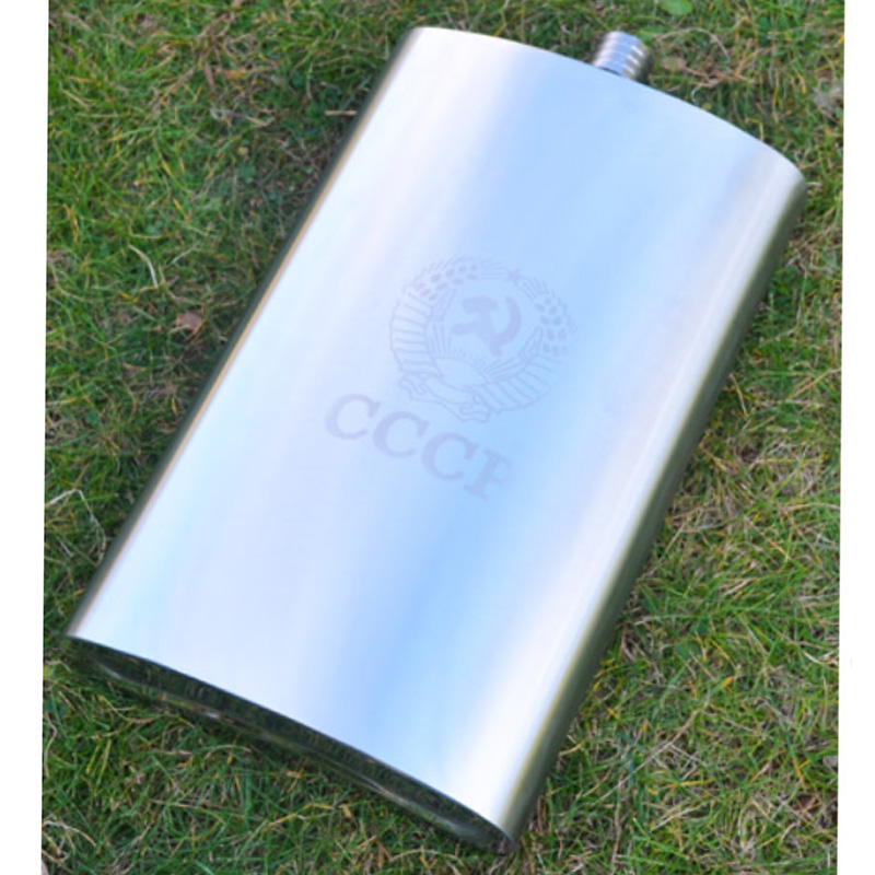 178oz wisky bottle Big Capacity Stainless Steel Hip Flask CCCP Whiskey Flask With Removable Leather Holster with 4 cups 1 Funnel in Hip Flasks from Home Garden
