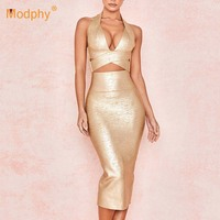 High quality sexy V neck bronzing 2 piece set gold bandage dress 2019 new women's club celebrity party dress Bodycon Vestidos