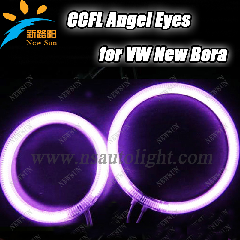 ФОТО 7000k super bright ccfl angle eyes halo ring kit for VW new Bora auto 125mm and 105mm ccfl halo rings free shipping