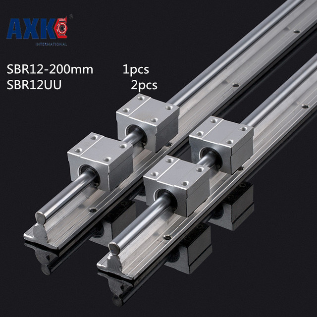 2018 Real Limited Cnc Router Parts Axk Axk 12mm Linear Rail Sbr12 200mm And 2 Pcs Sbr12uu Bearing Blocks For Cnc Parts Guide