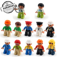 MARUMINE Free shipping bricks duplo character 13 kinds Career Education Toys building blocks for children classic(China)