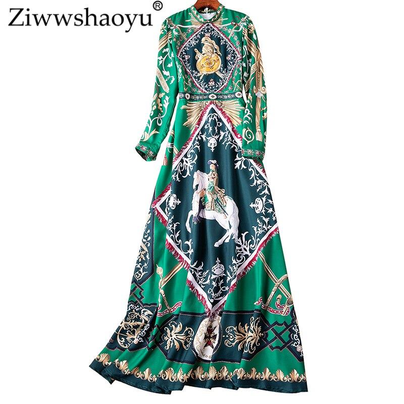 Printemps Mince Vintage D'été Imprimer Ziwwshaoyu Nouvelles Longues Élégant Femmes De Robe Diamants Perles Robes Multi Et Stand vmnNw80