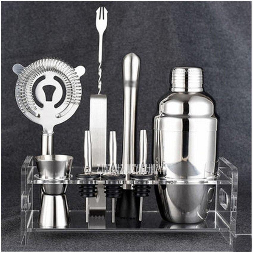 Offre spéciale HY1563a ensemble d'agitateur à Cocktail 350 ML/10 pièces comprend étain, gigue, pince à glace, crépine, support, verseur, Muddler et cuillère