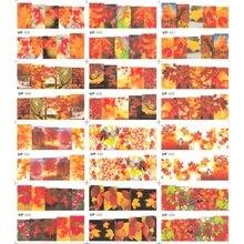12パック/ロット水デカールネイルアートステッカースライダーフルカバー赤黄色のカエデの木秋落下葉UP25 36