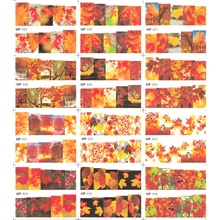 12 אריזות\מארז מים מדבקות ציפורניים אמנות נייל מדבקת מחוון מלא כיסוי אדום צהוב מייפל עץ סתיו נופל עלים עלים UP25 36