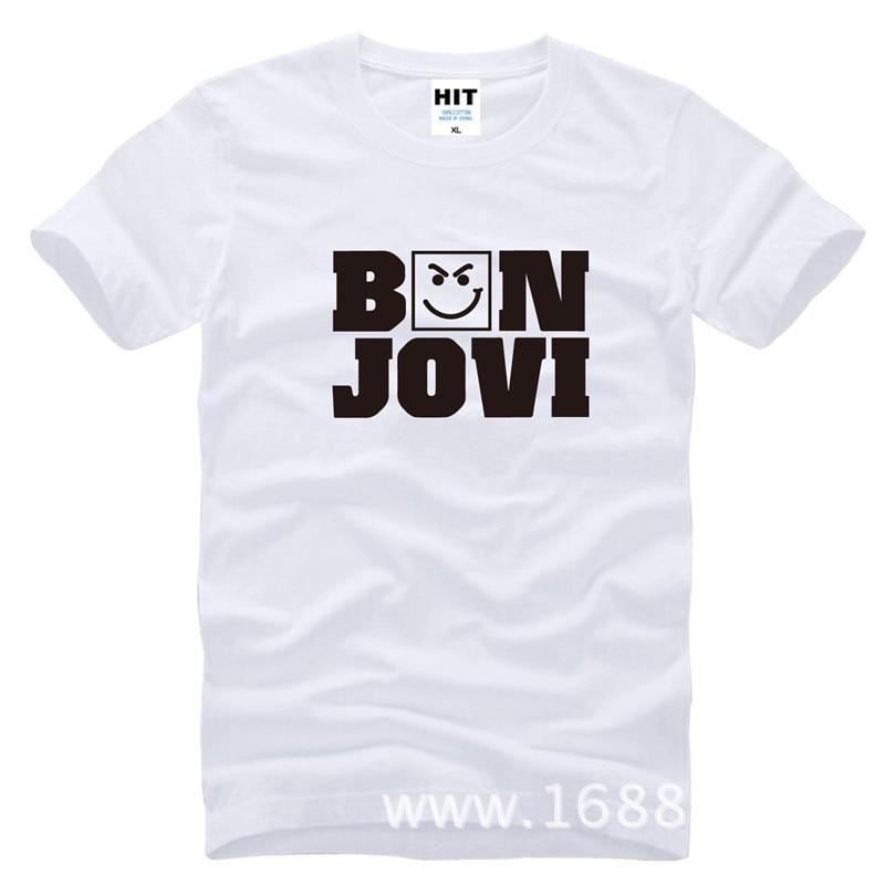 Bon Jovi T Shirt Rock Band Printed T-shirts Men New Short Sleeve O Neck Cotton Casual   Hiphop Clothing shubuzhi top tees