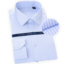 Plus size S to 8xl Basical Pure Cotton Long Sleeve Square collar comfortable non-Iron easy care striped solid male formal shirts