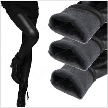 2016 winter women pant fashion fake leather leggings lady sexy boot pant thick warm pants slim pencil panties cashmere trousers