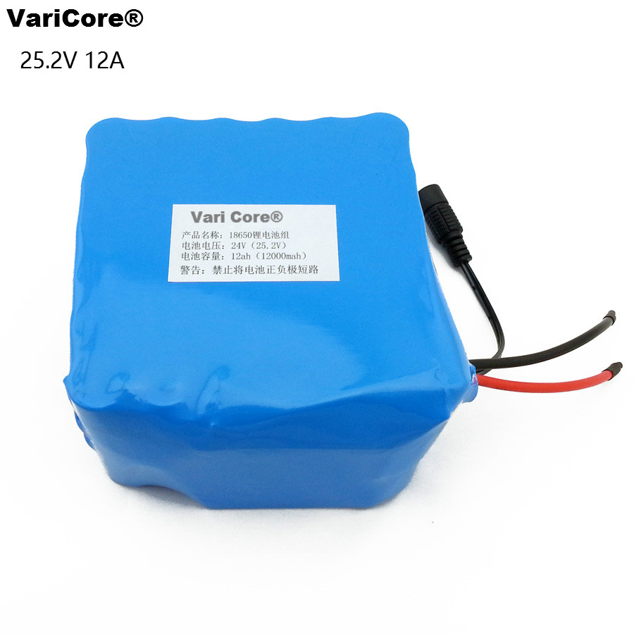 VariCore 24V 12Ah 6S6P 18650 Battery li ion battery 25 2v 12000mAh electric bicycle moped electric