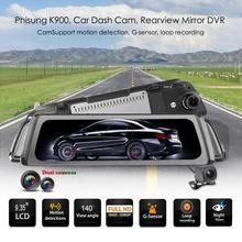 Phisung K900 Stream Автомобильный видеорегистратор зеркало заднего вида 9,35 Дюймов ночное видение двойной объектив 1080P видеорегистратор камера заднего вида