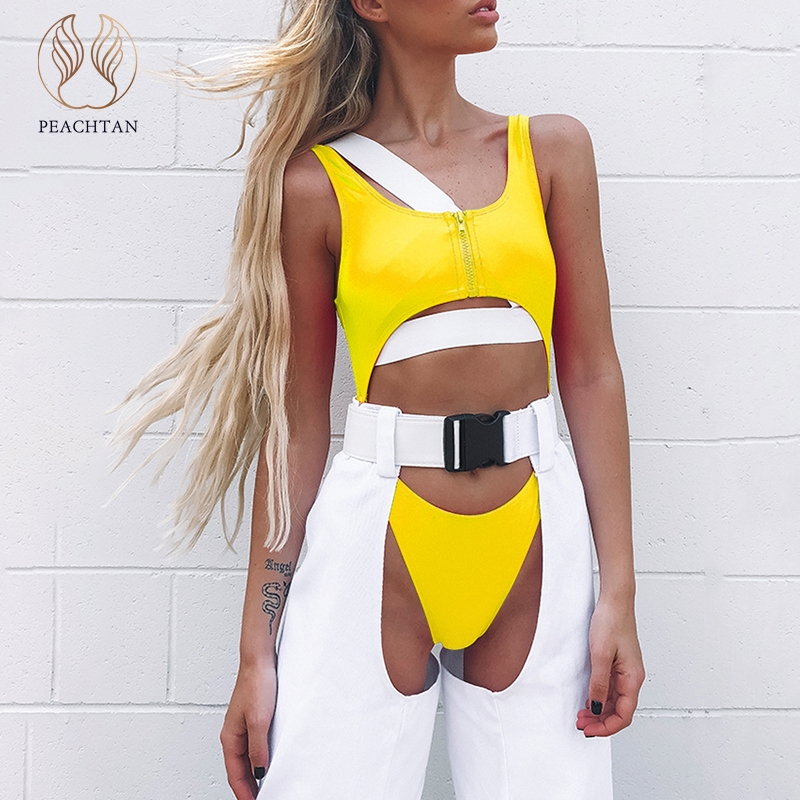 Orderly Peachtan Hollow Out Bikinis 2019 Mujer Sexy Yellow Woman Swimsuit One Piece High Cut Swimwear Women Zipper Thong Bathing Suit Sports & Entertainment