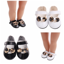 New Summer Doll Shoes 7cm Bowknot Leopard Fits 43 cm Dolls Baby and 18 1/3 BJD American Accessories